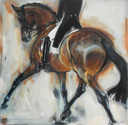 Rosemary Parcell nz horse artist, bay half pass